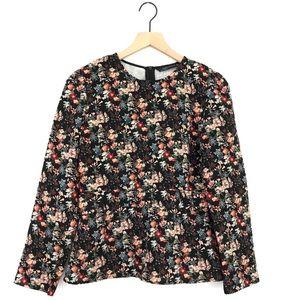 Zara Floral Peplum Blouse Medium Long Sleeve